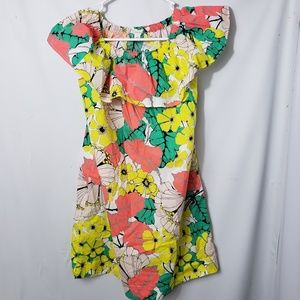 Crewcuts Tropical Floral Off Shoulder Dress
